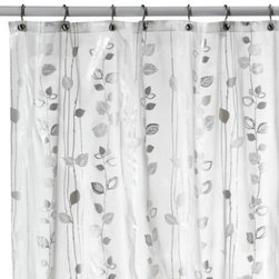 Ex-cell Home Fashions, Inc.,bath - Ivy Silver Vinyl Shower Curtain - Dress up the bathroom with this vinyl shower curtain featuring metallic accents highlighting a pretty botanical pattern. Curtain is soft to the touch and drapes beautifully.