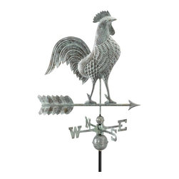 """Good Directions, Inc. - Good Directions 27"""" Rooster Weathervane - Blue Verde Copper - Proudly puffing out his broad chest, this rooster is ready to crow day and night over the rooftop of your house, barn, garage, or cupola. Our Good Directions artisans use Old World techniques to handcraft this fully functional, standard-size weathervane that's unsurpassed in style, quality and durability. A great gift for folk art enthusiasts!"""