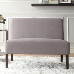 Inspire Q - INSPIRE Q Wicker Gray Linen 2-seater Armless Accent Loveseat - Add a classic appeal to your space with this gray linen loveseat. Featuring a contemporary design,polyurethane foam fill,and espresso-finished legs,this lovely piece is perfect for dressing up your living room,bedroom,or home office.