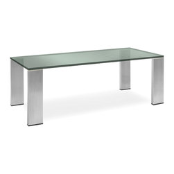 Nuevo Living - Parker Dining Table - Bring sleek, modern elegance into your dining setting with this impeccable piece. Though ultimately simple in design, the combination of chunky glass and brushed stainless steel has substantial style impact.
