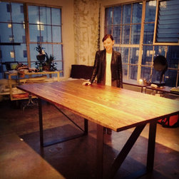 Steel Belt Worktable - We design beautiful, tailor-made furniture, and build it by hand to last forever.  Contact jr@saintarbor.com