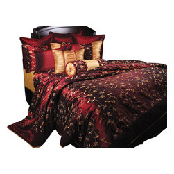 Jasmine Duvet Set, King - Crimson Red fabric with Gold floral embroidery highlighted with beautiful matching Crimson Red diamond fabric leaving any room with a romantic feel.