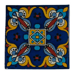 Cobalt & TurquoiseTalavera Tiles, Box of 15