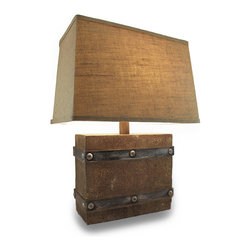 Zeckos - Distressed Finish Bound Wooden Box Decorative Table Lamp with Shade - This stylized crate lamp adds a natural highlight to nautical, beach or coastal decor with a distressed finish and metal look stripping accents . Made from wood, this 22.5 inch high, 12 inch long, 5 inch wide (57 X 30 X 13 cm) lamp features a bound weathered wooden box design, and includes a 11 inch high, 16 inch long, 11 inch wide (28 X 41 X 28 cm) burlap covered shade that complements the rustic theme. It easily turns on or off via the twist-switch located under the bulb, and with a 73 inch long brown cord, it's easy to display this lamp almost anywhere inside your home This lamp uses 1 Type A 100 watt maximum 3-way bulb (not included) to light your entry, living room or dining room, and it's wonderful as a housewarming gift sure to be admired