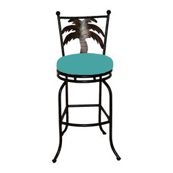 "Surf Side Patio - Tahiti Swivel Bar stool , Aruba, 24"" Counter Height - Accent your breakfast bar, home bar, tiki bar or patio with the hand crafted, wrought iron Tahiti Swivel Bar stool with a beautiful Palm Tree gracing the back of the chair.  Made from thick guage, powder coated wrought iron, these gorgeous bar stools swivel 360 degrees and bring a tropical touch to any area of your home, outdoor or indoor."