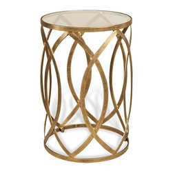 Interlude - Prima Side Table - Interlocking almond shapes in antique gold finish gives the Prima Grand Table a warm sophisticated vibe.