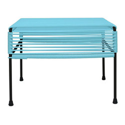 Woven Play Ottoman in Blue - The blue Woven Play Ottoman is constructed of solid, rust-resistant steel and vinyl cord that's resistant to weather and UV rays, making it suitable for outdoor use. Whether you're kicking your feet up by the pool, need extra seating, or could use a versatile side table, this ottoman has you covered.