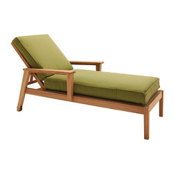 "Frontgate - Vermont Outdoor Chaise Lounge with Cushion, Patio Furniture - Features four back positions. Frame built from durable, premium teak hardwoods. Vermont's wide, flat arms are perfect for resting a smartphone, a remote control, a glass of wine or even a small plate. Distinctive wide-slat design creates a sense of sturdy solidity without the use of large sections of teak. Teak is sourced from sustainable plantations in an environmentally responsible manner. The Vermont Chaise Lounge achieves a contemporary interpretation of traditional Adirondack-style outdoor seating, utilizing plantation-grown teak for exceptional durability while maintaining a minimalist, lightweight feel. The solid teak frame features a gently curved horizontal seat and back slats, plus wide, flat arms characteristic of Adirondacks. The chaise uses a sling bottom deck and 5"" thick seat and back cushion to ensure comfort.  .  .  .  .  . Teak will develop a lovely silver patina if left outdoors and untreated; view care instructions . Fast-drying seat and back cushions included . 100% solution-dyed acrylic fabrics . Some assembly required ."