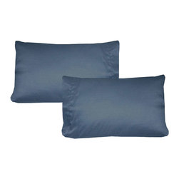 Store51 LLC - Solid Color Pillowcase Set Plain Pillow Covers, Dark Slate Blue - Features: