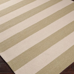 Surya Rain Sage Stripe Rug 8 x 10 - Broad stripes of your chosen color alternate with a neutral parchment hue in the transitional Rain Stripe Rug, a luxury floor covering for d�cor in a range of styles from nautical to minimalist to global.  This area rug's medium pile feels rich underfoot.  Traditionally hand-hooked and crafted from quality synthetic fibers to endure use outdoors or in, the rug comes in lush Carnelian red, charming Stormy Sea blue, burnt Espresso and quiet Sage Green.