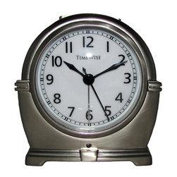 TIMEWISE CLOCKS - Alarm Clock - Antero Metal Alarm Clock Bushed Nickel - This elegant alarm clock features: