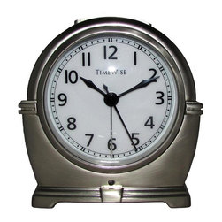 TIMEWISE CLOCKS - Alarm Clock - Antero Metal Alarm Clock Bushed Nickel - This elegant alarm clock features: