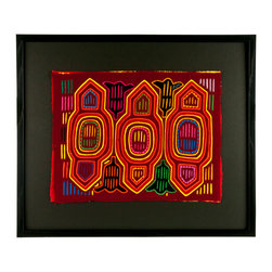 "Salvatecture Studio - Vintage Framed Panama Kuna Mola ""Lily 2"" Wall Art - Add some artistic color to your walls with this framed vintage mola that's been mounted on black mat board, set behind plexiglass and inside a black wood frame. Kuna women in Panama spend hours putting these intricately crafted works of art together, cutting and stitching up to seven layers of fabric — making each one truly unique."