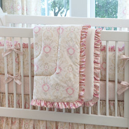 Juliet Crib Comforter - Front of comforter features Juliet Damask, backed with Cream Matelesse, and edged with Rose Pink Damask ruffled trim.