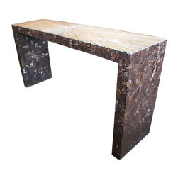 """Pre-owned Custom Made Bamboo and Coconut Console - Note from the seller: """"We designed this console using bamboo inlay on the surface and coconut shell down the sides and on the inside for a strong visual statement."""""""