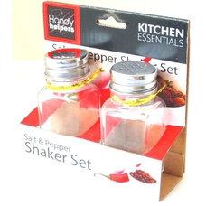 "2 Pack Salt and Pepper Shaker Square Glass Classic Set w Chrome Lid 3 1 2"" Tall"