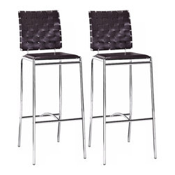 """Zuo - Zuo Espresso Leatherette Weave Set of 2 29"""" High Bar Stools - These Zuo bar stools are a long-legged beauties with a special leatherette weave patterned back. The criss-cross weave pattern is complemented by a flat solid seat and slender chrome frame. A chic barstool addition to a kitchen or bar area. Espresso leatherette constructed seat. Chrome steel frame. Barstool height seat. Set of two. 41"""" high. 15"""" wide. 29"""" from seat to floor.  Set of 2.  Espresso leatherette constructed seat.  Chrome steel frame.  Barstool height seat.  41"""" high.  15"""" wide.  29"""" from seat to floor."""