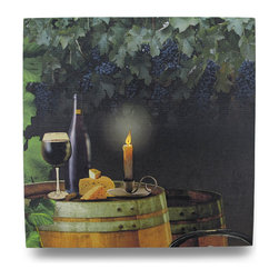Zeckos - Wine by Candle Light Lighted LED Canvas Wall Hanging - This beautiful LED Lighted printed canvas depicts a flickering candle in a dark wine cellar, atop a wine barrel, and joined by a wine glass and wedge of cheese. It measures 16 inches tall, 16 inches across and 3/4 inch deep. It easily hangs on the wall using a single nail or screw. The flickering lights are powered by 2 'AA' batteries (not included), are controlled by an inconspicuous on/off switch on the side of the canvas, and unsightly wires are concealed and contained by the vinyl backing. It will look great on the walls of any office, library or gathering room, and makes a great gift for wine lovers