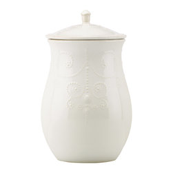 Lenox - Lenox 'French Perle' White Cookie Jar - A parade of raised beads encircles a delicately scalloped edge in the French Perle cookie jar,resembling detailed embroidery. Chic and charming,this lovely jar is crafted of dishwasher-safe stoneware.