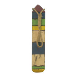 """Handcrafted Nautical Decor - Wooden Thin Multi-Color Buoy 25"""" Coastal Decorating Style Buoys and Floats - New - Classically themed and delightfully decorative, this Wooden Thin Multi-Color Buoy 25"""" wood float is the perfect coastal decorating accent to your home or collection. Handcrafted Nautical Decor is proud to present this delightful wood float, just the one you have been looking for, to place in your home. Perfect indoors or out, this wonderful float brings the atmosphere of the sea into your home and life. Masterfully crafted, rustically modern, enjoy your wooden float wherever you may place it."""