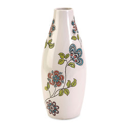 iMax - Valona Small Hand Painted Vase - Beautifully hand painted, the small Valona vase features a cream finish with stylized bold floral motif.