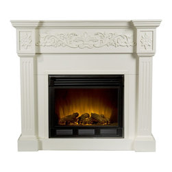 Holly & Martin - Holly & Martin Huntington Electric Fireplace - Crisp is the perfect description for this traditional ivory fireplace. Fluted columns frame the firebox on each side and an elegant floral design across the top of this classic fireplace draws attention. This beautiful mantel is finished off with understated molding that complements the design fabulously. Requiring no electrician or contractor for installation allows instant remodeling without the usual mess or expense. In addition to your living room or bedroom, try moving this fireplace to your dining room for a romantic dinner or complement your media room with a ventless fireplace below your flat screen television. Use this great functional fireplace to make your home a more welcoming environment.