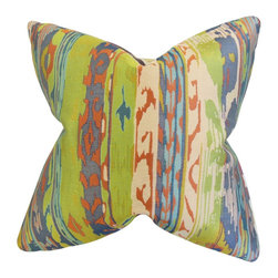 """The Pillow Collection - Ogun Ikat Pillow Green 18"""" x 18"""" - Lend an eccentric vibe to your home with this statement piece. This throw pillow features a unique ikat pattern in shades of green, orange, white, purple and blue. This accent piece is perfect for indoor use. Pair with solids and other patterns for a totally unique decor style. Made in the USA."""