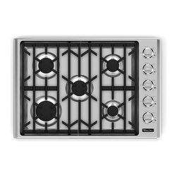 """Viking Professional 30"""" Gas Cooktop with 5 Sealed Brass Burners Stainless Steel - Available at Universal Appliance and Kitchen Center 