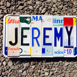Recycled License Plate Sign by 1 Bent Keepsake - A personalized license plate for the wall lets everyone know whose territory they're cruising into.