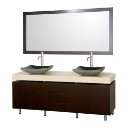 Wyndham - Malibu 72in. Double Bathroom Vanity Set - Espresso - The Malibu 72 in.  Bathroom Vanity is a featured item from the Wyndham Collection Designer Series by Christopher Grubb. The beautiful floating counter and clean lines of this vanity are quite stunning, with the legs appearing to pierce right through the cabinet to the floor, yet it's surprisingly affordable. Each counter is custom made to order.