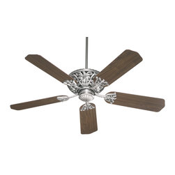 "Quorum Lighting - Quorum Lighting Windsor 52"" Traditional Ceiling Fan X-29-52558 - An intricately detailed motor cover provides beautiful and functional ventilation for this Quorum Lighting 52"" ceiling fan. From the Windsor Collection, the ornate detailing of this traditional ceiling fan is accentuated by your choice of two finishes. This design also features five coordinating blades and a multi-speed motor that is reversible."