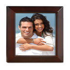 Lawrence Frames - Walnut Wood 5x5 Picture Frame - Estero Collection - Gorgeous walnut brown wood picture frame with inner detail.  High quality black wood backing with an easel for vertical or horizontal table top display, and hangers for vertical or horizontal wall mounting.    Hand finished 5x5 wood picture frame is made with exceptional workmanship and comes individually boxed.
