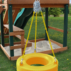 Gorilla Playsets - Commercial Grade Tire Swing in Yellow - Features: -Commercial grade tire swing. -360 Tire swing will swivel, swing and spin. -Boasts the totally enclosed design that won't take on water or other yard debris. -No stinky odor or black residue. -Weight capacity: 125 lbs. -Recommended: Ages 4-10.