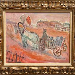 Simon Karczmar, Horse and Cart, Oil Painting - Artist:  Simon Karczmar, Polish (1903 - 1982)