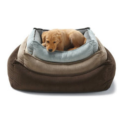 Grandin Road - Cool Gel Memory Foam Pet Bed - Grandin Road - Reversible pet bed with comfortable, cool gel memory foam construction. Corded fabric, in your choice of color, easily reverses to smooth fabric. Scalloped front makes entry for small or older dogs easier. Durable microvelvet cover zips off for convenient machine washing. Our Cool Gel Memory Foam Pet Bed helps keep even the hottest dogs cool and comfortable – and we think the family best friend is more than worthy. What's more, transforming the look from corded to smooth fabric is as simple as turning the bed inside out. Other comfortable features include a removable center cushion and a scalloped front for ease of access.  .  .  .  . Made in Canada.