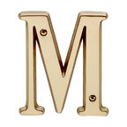 "Renovators Supply - House Numbers Bright Solid Brass 4"" House Letter M - Made of solid brass, these polished die cast letters are made to withstand the elements. Measuring 4 in. high, they are easily seen from the curb. They will update your home's exterior!"