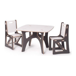 Sprout Kids - Modern Grey and White Kids Table and Chair Set - Modern Grey and White Kids Table and Chair Set