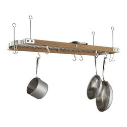 Large Bamboo Ceiling Pot Rack - It's nice to see a pot rack that looks a little different. I love the contrast of the shiny metal ends and exposed fasteners.It's a good size too - plenty of room for most kitchens.