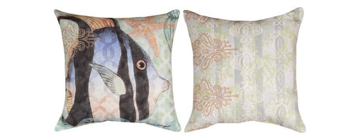 Manual - Pair of Boho Coastal Angel Fish Print Indoor / Outdoor Throw Pillows - This pair of 18 inch by 18 inch woven throw pillows adds a wonderful accent to your home or patio. The pillows have ClimaWeave weatherproof exteriors, that resist both moisture and fading. The pillows have an angel fish print on the fronts, and a Bohemian style nautical print on the backs. They have 100% polyester stuffing. These pillows are crafted with pride in the Blue Ridge Mountains of North Carolina, and add a quality accent to your home. Original artwork by Susan Winger. They make great gifts for ocean lovers.