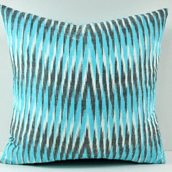 turquoise ikat pillow 100% cotton - Infuse your home with style and vibrancy with this designer cushion cover