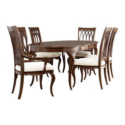 American Drew - American Drew Cherry Grove NG 8 Piece Dining Room Set in Brown - Cherry Grove New Generation line promises the same timeless quality and appeal with a full line of dining room, bedroom, home office, entertainment and occasional furniture. The line incorporates many elegant curves and graceful movement, and is updated with today's finishes, functionality and style. The inviting mid tone brown finish makes the cherry veneers pop on each piece, along with custom designed hardware. This line takes advantage of vertical space with higher case heights, and maximizes the utility of small spaces with hinged drop leaves on servers and tables. In combination, the collection takes functionality to a lifestyle level and allows urban or scaled-down living spaces to become entertainment areas, making small rooms work like big rooms. The New Generation of Cherry Grove is about honoring tradition while staying on trend.