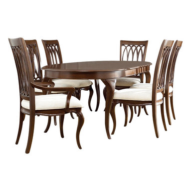 American Drew - American Drew Cherry Grove NG 8-Piece Dining Room Set in Brown - Cherry Grove New Generation line promises the same timeless quality and appeal with a full line of dining room, bedroom, home office, entertainment and occasional furniture. The line incorporates many elegant curves and graceful movement, and is updated with today? finishes, functionality and style. The inviting Mid tone brown finish makes the cherry veneers pop on each piece, along with Custom designed hardware. This line takes advantage of vertical space with higher case heights, and maximizes the utility of small spaces with hinged drop leaves on servers and tables. In combination, the collection takes functionality to a lifestyle level and allows urban or scaled-down living spaces to become entertainment areas, making small rooms work like big rooms. The New Generation of Cherry Grove is about honoring tradition while staying on trend.