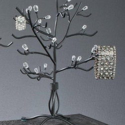 """13.5""""H Black with Clear Beads Elegant Jewelry Tree, Modern Jewelry Organizer - Black Metal Jewelry Tree is constructed of Black metal wire with clear acrylic beads."""