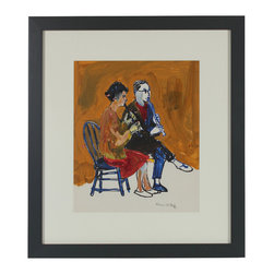 Lost Art Salon - Clarinet Duo, 1950-60s - This 1950-60s distemper and ink on paper scene is signed by Bay Area artist Alysanne McGaffey (1931- ). McGaffey was part of the Bay Area Figurative Movement of the late 1950s and early 60s while studying at the San Francisco Art Institute. She has had numerous solo and group exhibitions throughout her career and still holds offices in several art organizations including the Coastal Arts League and the Peninsula Chapter of Women's Caucus for Art. She continues to paint watercolors of the Pacific seashore in her Pacifica studio. Framed in a restored contemporary wood frame with a matte dark gray finish using archival matting and etched non-glare glass.