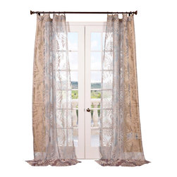 Exclusive Fabrics & Furnishings, LLC - Agatha Taupe Gray Patterned Sheer Curtain - Give your window treatments the royal treatment with this resplendent sheer curtain. The sophisticated pattern beautifully diffuses sunlight into your room.