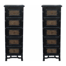 Pair of Black Rattan Top Bamboo Look 5 Drawers Chests - This 5 drawers chest is made with solid wood and carved look like bamboo. The surface is finished with rattan.