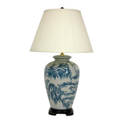 "Oriental Furniture - 29"" Blue and White Chinese Landscape Lamp - A traditional oriental lamp featuring an authentic Asian vase body decorated with a finely detailed Ming blue and white landscape pattern. Includes the dark Rosewood cap and base as shown, as well as a pleated white lamp shade. UL approved hardware uses a regular U.S. light bulb."