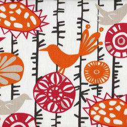 Close to Custom Linens - Cal King Bedskirt 15 inch Drop Gathered Menagerie - Menagerie is a delightful contemporary mix of flowers and birds in grey, orange and pink. The background is natural cotton. Gathered with 1 1/2 to 1 fullness, split corners and a 15 inch drop. 100% cotton with a cotton/poly platform.
