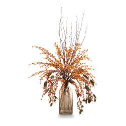 Sunset Colored Bittersweets & Berries Botanical - Heated color and impressive four-foot size make the Sunset-Colored Bittersweets and Berries the showpiece of the room where you place it.  The transparent bronze seeded glass of the bottle-shaped vase adds a romantic shadow to the fiery orange florals and the strong reds of the budding branches which, along with the delicate twigs, compose this arrangement.