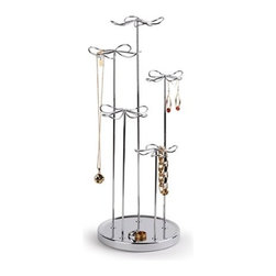 Umbra - Daisy-Go-Round Jewelry Stand by Umbra - The Daisy-Go-Round spinning jewelry stand by Umbra provides easy access to jewelry on all sides. Constructed of chrome-plated metal, it features numerous hooks for hanging jewelry (from necklaces to earrings to bracelets) and a 360-degree rotating base. Multi-level 'flower' design makes it easy to organize and display jewelry of various lengths.